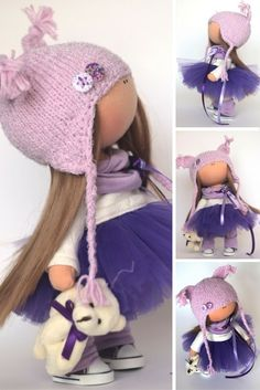 Love doll Fabric doll Summer doll handmade violet color Soft doll Cloth doll…                                                                                                                                                     More
