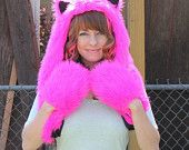Furry Cat Animal Hat - Hot Pink and Black Cheshire Cat Inspired Kokoro Hood - Made to Order