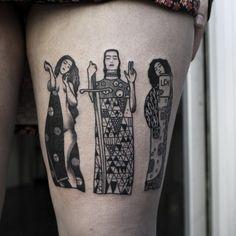29 Gustav Klimt Tattoos To Show Your Artistic Side Leg Tattoo Men, Tattoo You, Leg Tattoos, Body Art Tattoos, Badass Tattoos, Tatoos, Klimt Tattoo, Pretty Tattoos, Unique Tattoos