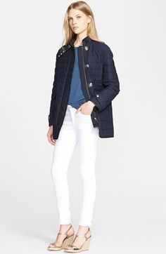 Burberry Brit 'Brooksteen' Leather Trim Quilted Cotton Jacket available at #Nordstrom