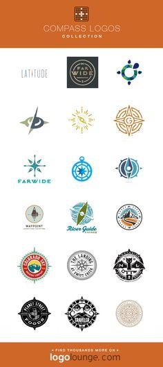 Logo Collection : Compass vector logo designs. Arrow, point, direction, wayfinding, wilderness. #logo #compass