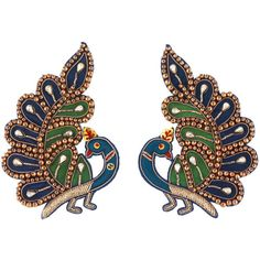 Gucci Embroidered Peacock Earrings ($790) ❤ liked on Polyvore featuring jewelry, earrings, oversized earrings, gucci earrings, multi colored earrings, lightweight earrings and chains jewelry