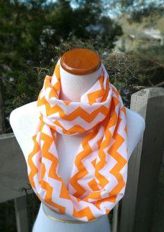 Citrus Orange Chevron infinity scarf, very soft, stylish, and comfortable.