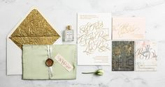 Gold Foil on Cream Paper / Floral Prints / Celadon Silk Pocket / Blush & Gold / Wedding Invitation