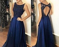 Prom Dress Beautiful, A-Line Bateau Open Back Dark Blue Satin Beaded Prom Dress, Discover your dream prom dress. Our collection features affordable prom dresses, chiffon prom gowns, sexy formal gowns and more. Find your 2020 prom dress Junior Formal Dresses, Navy Blue Prom Dresses, Open Back Prom Dresses, Backless Prom Dresses, Prom Dresses For Sale, A Line Prom Dresses, Prom Dresses Online, Formal Evening Dresses, Dress Long