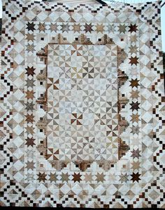 Scrappy neutral quilt, with a variety of blocks. Sampler Quilts, Star Quilts, Scrappy Quilts, Quilt Blocks, Quilting Projects, Quilting Designs, Low Volume Quilt, Neutral Quilt, Two Color Quilts
