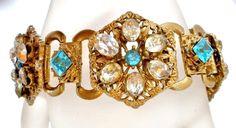 "Art Deco Rhinestone Bookchain Bracelet Blue Clear 7.5"" Antique Wide Estate Pc"
