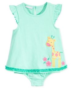 First Impressions Baby Girls' Mint Giraffe Sunsuit, Only at Macy's