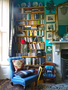 Bold color, London home. via Bible of British Taste // perfect book nook