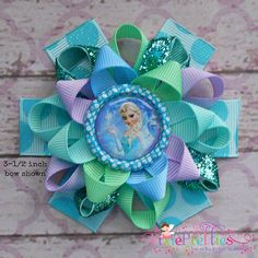 Frozen Elsa The Snow Queen Loopy Flower Hair Bow by PixiePretties, $6.50
