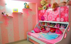 Pink kids bedroom with wallpaper, designed by Abhishek Chadha, Interior Designer in Bangalore, Karnataka, India