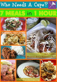 7 Meals in 1 Hour Crockpot Freezer Cooking Collage | This is the perfect set to start your freezer cooking.  7 meals, delish tasting - but only 1 hour (perfect for not a lot of freezer room) a definite must pin!