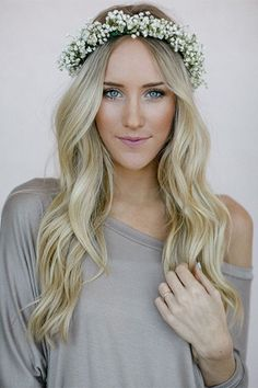 Groovy Wavy Wedding Hair Floral Crowns And Wedding Hairs On Pinterest Hairstyles For Women Draintrainus