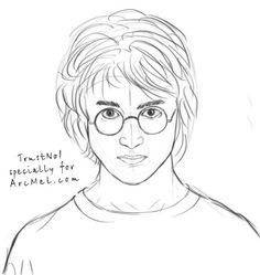 How to draw Harry Potter step 6