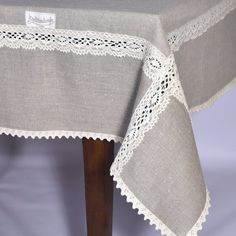 Wide Linen tablecloth Width Cotton lace edge, 104 120 140 84 inch large custom tablecloth light by QuiltHandicrafts on Etsy Shabby Chic Dining Room, Shabby Chic Cottage, Cottage Style, Linen Tablecloth, Tablecloths, Crochet Shell Stitch, Table Covers, Cotton Lace, Crochet Patterns