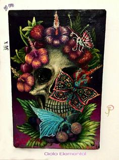 #samanthapasten # pintura #calavera #mariposas #flores #fridakalo