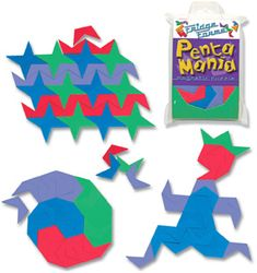 """KIT: Pentamania magnetic puzzle -Arrange and rearrange the 56 """"folded pentagons"""" into hundreds of patterns. Includes instructions and brain teasers. Charts And Graphs, Brain Teasers, Puzzle, Kit, Patterns, Block Prints, Mind Games, Puzzles, Riddles"""