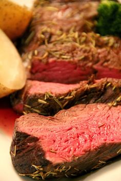 Roasted #Beef Tenderloin recipe - soy, Chardonnay or beef broth, rosemary, Dijon, garlic