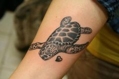 Sea turtle tattoo minus the heart and bigger for upper arm/shoulder