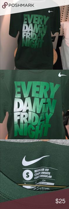 "Nike Shirt **HOST PICK 1/3/18** Nike ""Every Damn Friday Night"" shirt No writing on back of shirt  Part of their Better World collection Made of 100% cotton Regular size fit, size Small but fits a little big. Brand new never worn with tags Great for sports or working out Nike Shirts Tees - Short Sleeve"