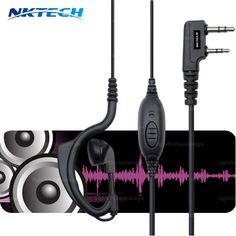 2pcs Walkie Talkie Headphones 2 Pin Ear Bar Earpiece Mic PTT Headset For BAOFENG Walkie Talkie UV5R BF-888S UV82 Accessories #Affiliate