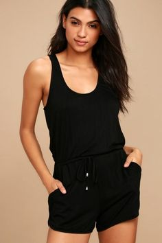 98a769bd96 The Extracurricular Black Romper is ready for whatever fun activities are  in store! Soft jersey knit romper with a relaxed sleeveless bodice