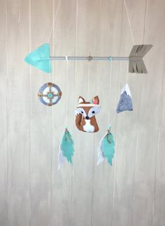 Tribal mobile baby mobile fox mobile by JuniperStreetDesigns Fox Mobile, Feather Mobile, Diy Bebe, Hanging Mobile, Felt Crafts, Wool Felt, Decoration, New Baby Products, Sewing Projects