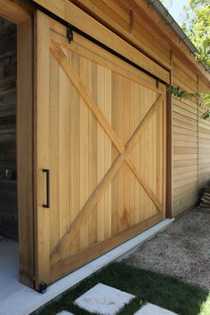 Hamptons Modern Barn - transitional - exterior - new york - John Hummel & Associates Custom Builders Barn Door Garage, Sliding Garage Doors, Exterior Barn Doors, Garage Door Design, Shed Doors, House Doors, Transitional Fireplaces, Transitional House, Transitional Lighting