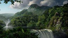 Tierra/Naturaleza Cascada  Tierra/Naturaleza Jungle Bosque Verde Árbol Montaña Fondo de Pantalla