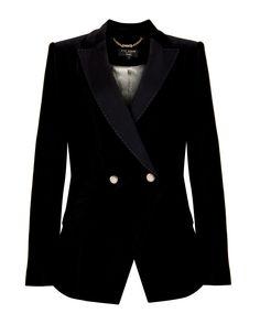 Ted Baker Double-Breasted Black Velvet Blazer