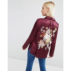 ASOS Satin Pyjama Blouse With Floral Embroidered Back ($54) ❤ liked on Polyvore featuring tops, blouses, red and asos