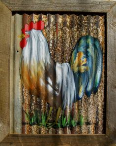 Painted rooster on tin, framed in cypress.