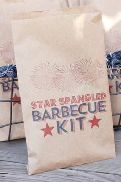 Use these individual 'star-spangled BBQ kit' paper bag pouches to place cutlery, napkins, salt and pepper packets, and other bbq essentials for your July 4th party. Each one of your guests can help themselves to their own bag with everything they need to enjoy a delicious meal. See more party ideas and share yours at CatchMyParty.com