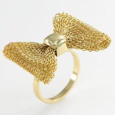 Lc Lauren Conrad Gold Tone Mesh Bow Ring