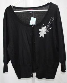 Torrid-Womens-Black-Embellished-Button-Front-3-4-Sleeve-Sweater-Torrid-2-NWT