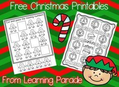 FREE set of math and literacy Christmas printables for Kindergarten ...