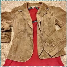 "Loft ✨ Tan Corduroy Blazer Like NEW - Ann Taylor Loft beige cord jacket. Size 4. Adorable detail throughout. One single button in the front & 1 nonfunctional button at each cuff. Excellent condition. Approximate measurements below.   19"" Length 33"" Bust when buttoned (but stretchy) 23.5"" Sleeve length  99% Cotton, 1% Spandex Machine washable  Pet free/smoke free - Clean Home! LOFT Jackets & Coats Blazers"