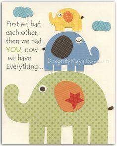 Nursery wall art print Baby Room Decor elephant by DesignByMaya, $17.00