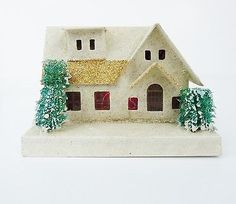 Vintage Japan Mica White/Gold Glitter Large Christmas Village Putz House pne