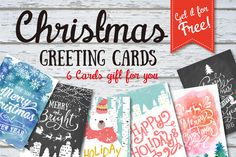 Check out 6 Christmas greeting cards set by Graphic Box on Creative Market