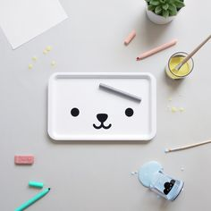 Bear face Tray by Buddy + Bear. A super cute and monochrome plastic tray that is ideal for everyday use. See our full Buddy & Bear range. Melamine Tray, Kids Dishes, Kid Table, Table Tray, Bear Design, Kids Branding, Blog Love, Kids Decor, Decor Ideas