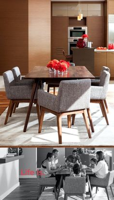 Stunning good looks and comfort define the Chanel dining chair. Constructed of solid Malaysian Oak in a cocoa stain, these will add a touch of chic to any room.