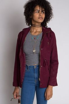 We love this burgundy Anorak Jacket! We also have it in olive, black and khaki!