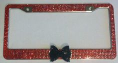 7 Rows Of Bling Rhinestone License Plate Frame with Bow by Zusooz