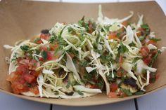 Pescado Taquitos - griddled texas redfish, green cabbage, chipotle mayo, pico de gallo, salsa morenita.