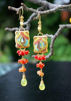 Shades of Red Yellow carnelian coral jade by Peelirohini on Etsy, $80.00