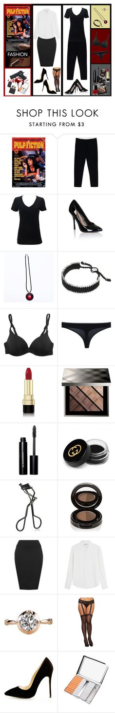 """Pulp Fiction - Uma Thurman"" by kimber-rose on Polyvore featuring Ann Demeulemeester, Baccarat, Links of London, Cosabella, STELLA McCARTNEY, Dolce&Gabbana, Burberry, Bobbi Brown Cosmetics, Gucci and Chanel"