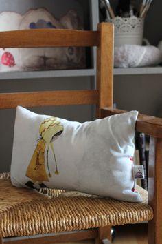 Garance mini cushion original printed illustration on cotton fabric Creation Homes, Bed Pillows, Cushions, Fabric Garland, Watercolor Canvas, Lampshades, Pillow Cases, Cotton Fabric, The Originals