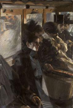Omnibus II, 1892, Anders Zorn. Swedish (1860 - 1920) The second version of Anders Zorn's 1892 Paris bus painting.