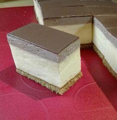 Trošku iný krémeš s bielym a čokoládovým krémom. Dessert Recipes, Desserts, Birthday Cake, Pudding, Sweets, Cheese, Baking, Food, Gardening
